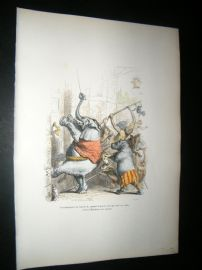 Grandville des Animaux 1842 Hand Col Print. Elephant With Splinter In Foot